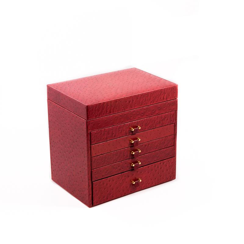 Bey Berk Red Ostrich Leather Jewelry Box