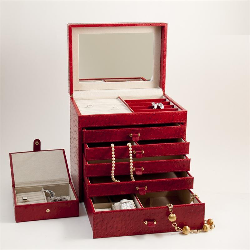 Bey berk red ostrich leather jewelry box for Bey berk jewelry box