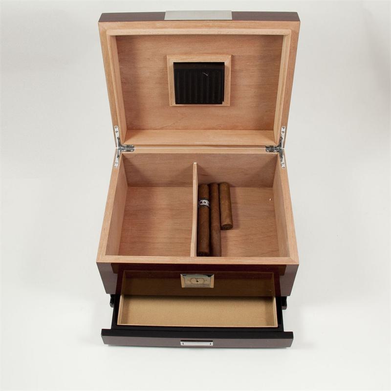 Bey Berk Walnut Wood Cigar Humidor W Drawer