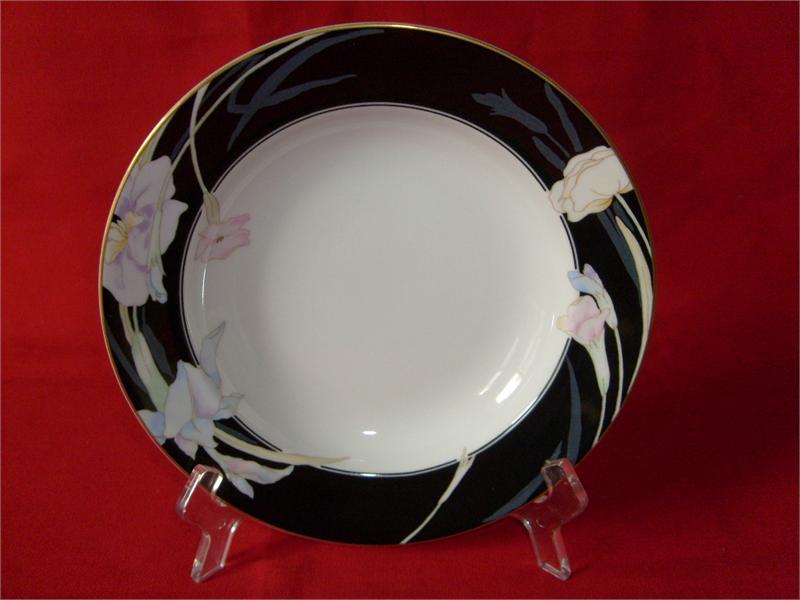 MIKASA CHINA, CHARISMA-BLACK PATTERN, #L9050, (2) RIMMED SOUP BOWLS